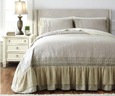 Antique Blue Cotton Linen Duvet Master Bedding Set Oc Homestyle