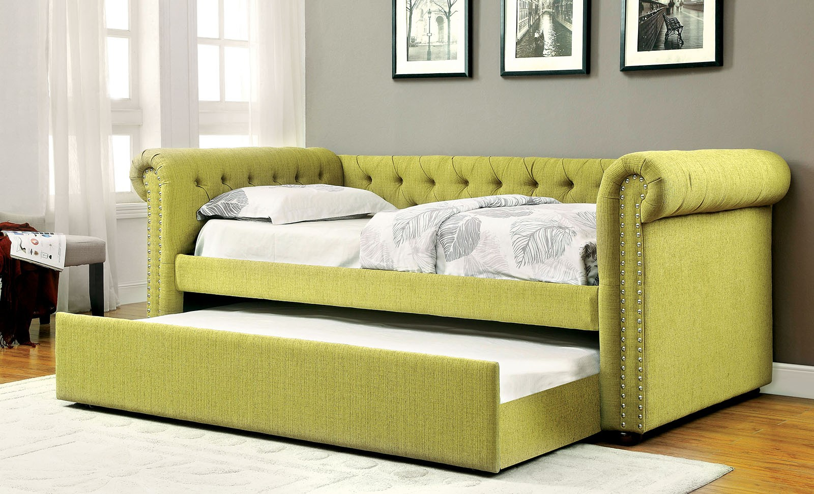 Leanna Transitional Fabric Daybed With Trundle U2013 OC Homestyle Furniture