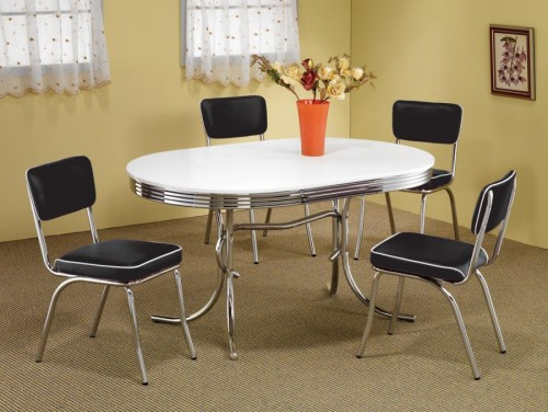 Coaster Retro Chrome Plated 7 Piece Dining Set