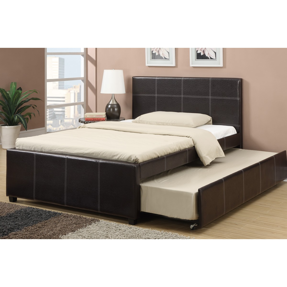 Espresso Faux Leather Full Size Bed With Twin Size Trundle Bed Slat Kits Included Oc