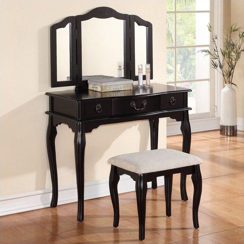 3 PCS Susana Mirror Vanity Table with Stool Set in Black