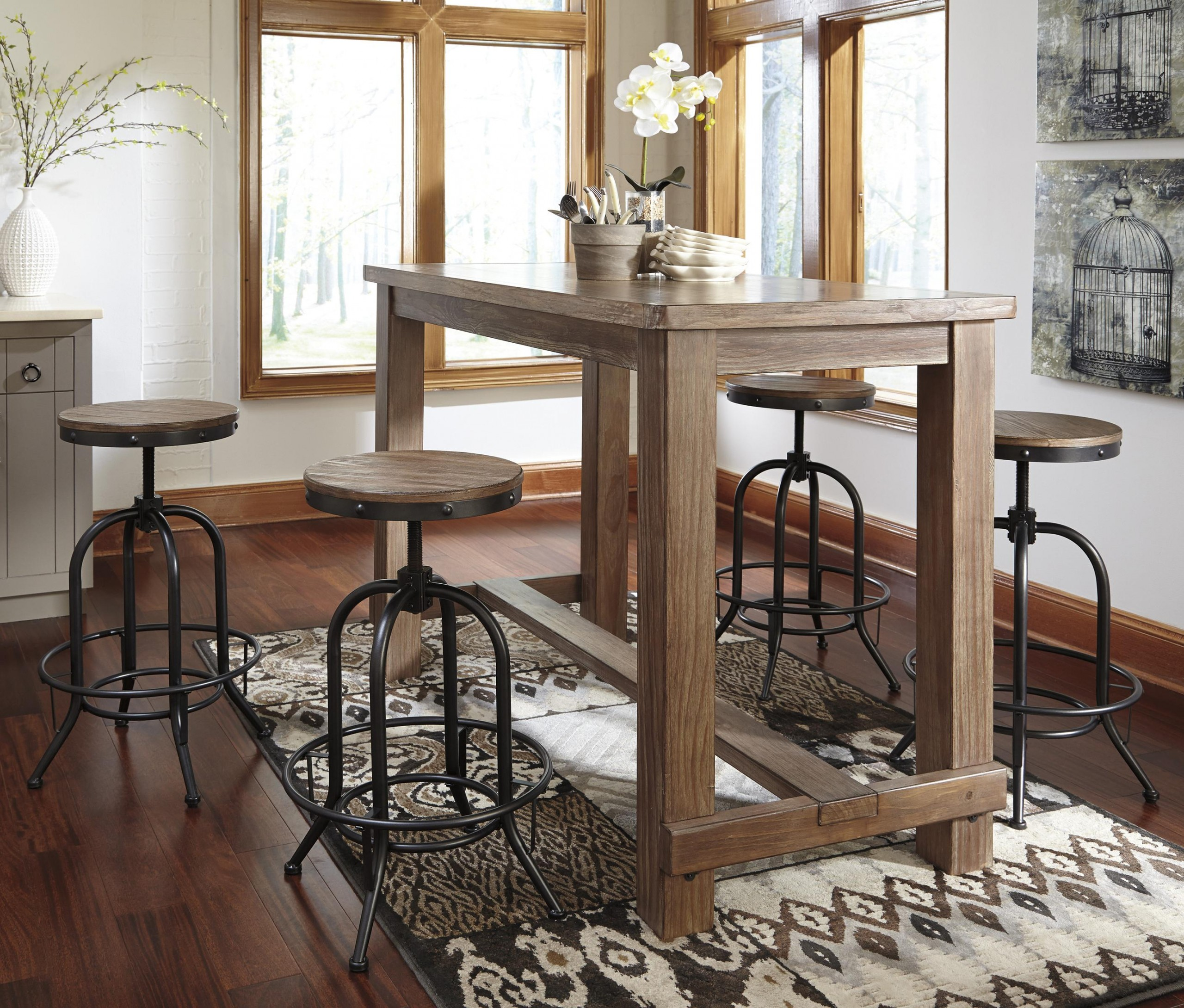 Picture of: Pinnadel 5 Piece Bar Table Set With Industrial Style Adjustable Swivel Stools Oc Homestyle Furniture