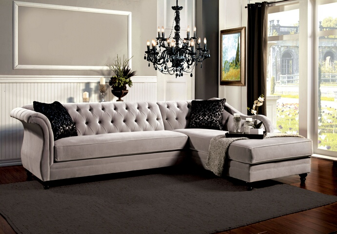 2 Pc Rotterdam Collection Warm Gray Bella Fabric Upholstered Sectional Sofa With Tufted Back Oc Homestyle Furniture