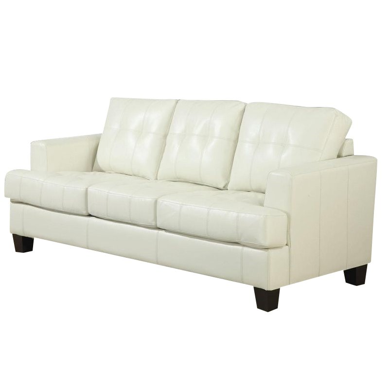 Wondrous Samuel Cream Queen Sleeper Sofa In Bonded Leather Pabps2019 Chair Design Images Pabps2019Com