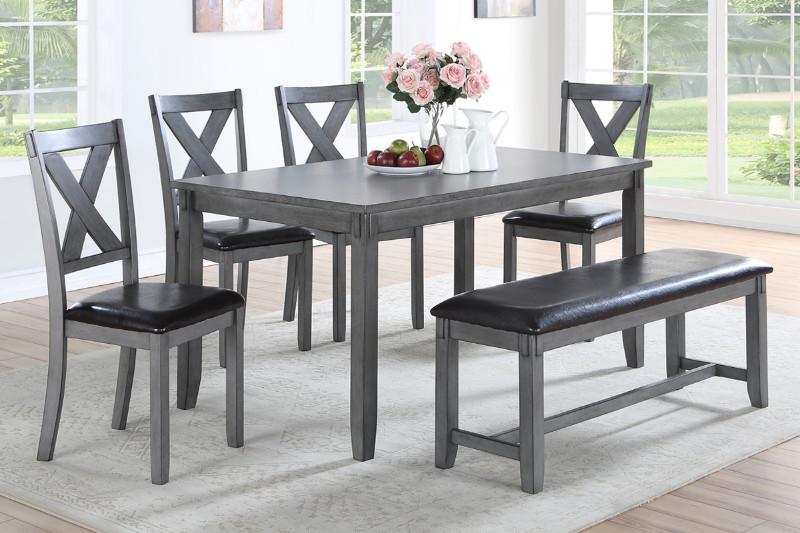 Grey Finish 6 Piece Dining Table Set